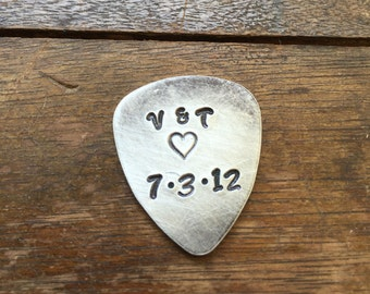 Couples Initials Heart and Date Personalized Hand Stamped Guitar Picks Gift - Aluminum Copper Brass - Gift under 20 dollars