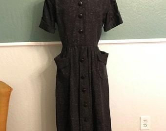 1940s Black Speckled Secretary Dress S-M