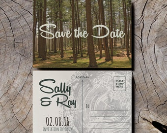 Retro Save the Date Wedding Invitations, camping save the date, 1950s wedding vintage postcard, forest save the date, woodland wedding