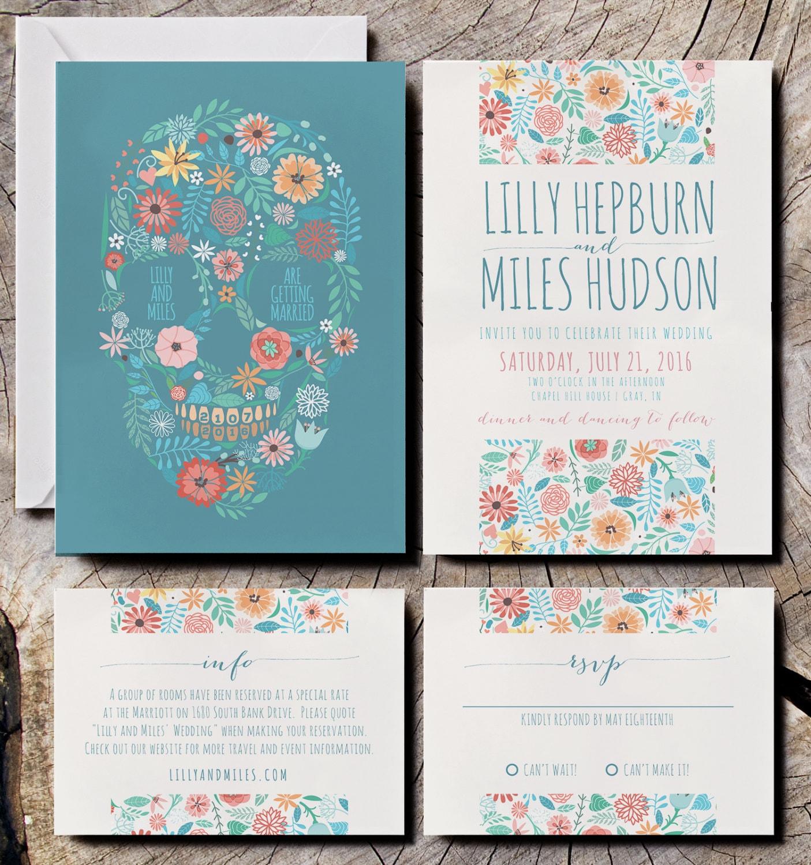floral skull wedding invitations with skull wedding invitations Skull Invites Floral wedding invitations zoom