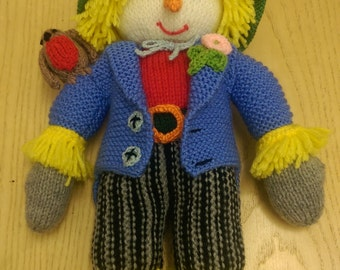 Knitted scarecrow, knitted keepsake, Jean Greenhowe, Sam scarecrow, knitted decoration