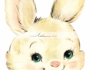Vintage Sweet Easter Bunny - Digital Download Printable Instant Art - Paper Crafts Scrapbook Altered Art - Cute White Blue Pink Easter Bunny