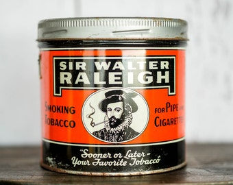 Vintage Tobacco Tin - Sir Walter Raleigh Tin - Smoking Tobacco - Pipes Cigarettes - Imperial Tobacco Company of Montreal Canada 1950's