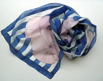 Navy stripes silk scarf