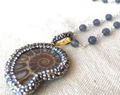 Ammonite Fossil Necklace nautilus shell pendant necklace pave crystal necklace beaded silver necklace simple modern necklace beach rustic