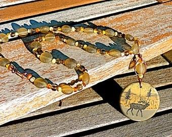 Carved Caribou Necklace, carved moose carved reindeer necklace Christmas gift for mom rustic necklace stone necklace  carved stone pendant