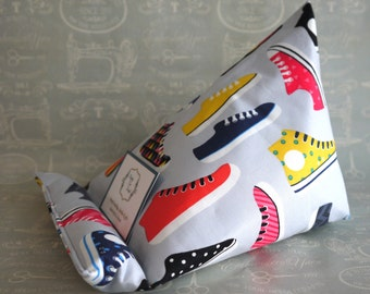 Sneakers tablet or book stand beanbag handmade by Perfectly Fine Designs