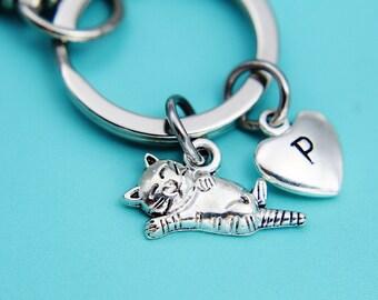 Silver Cat Charm Keychain, Silver Cat Keychain, Cat Keychain, Personalized Keychain, Silver Keychain Cat, Keychain Cat, Gifts Ideas
