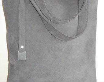 SUEDE BAG, GRAY color, Tote Bag, Large, CarryAll, Shoulder Bag, , Shopping Bag, Handbag