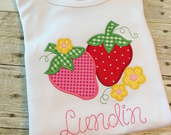 Girls Personalized Shirt - Girls Summer shirt - Girls Strawberry outfit - Girls Embroidered Summer Shirt - Girls Personalized Gift