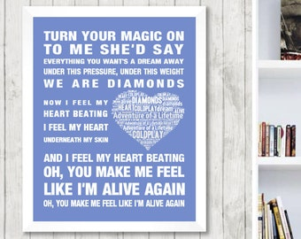Coldplay Adventure of a Lifetime Music Love Song Lyrics Word Art Print Poster Memorabilia Heart Design Wall Decor Framed Gift