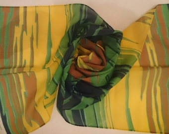 Vintage long scarf by Odile St Germain Paris - Printed chiffon - perfect condition - Free UK Postage