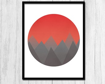 Abstract Sunset Print Digital Download Grey Mountains Minimalist Print Orange Sunset Mountain Print Abstract Orange Mountains Printable Art