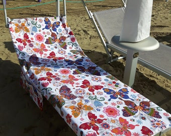 Beach towel for Sun bed with pockets and stretch cotton and sponge