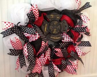 Deco mesh firefighter wreath, fireman wreath, red, white, and black deco mesh wreath, firefighter
