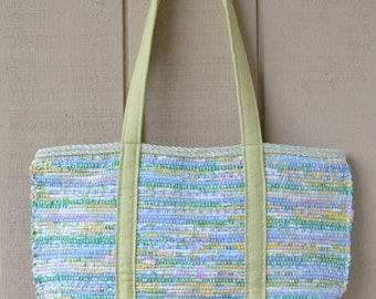 Brightly Colored Tote/ Yellow -Green Straps