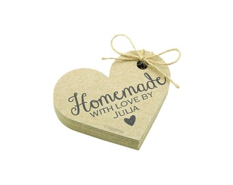 Homemade with Love Heart Tags, Personalized Tags, Rustic Paper Tags, Packaging Tags, Handmade Gift Tags, Product Tags, Brown Kraft Tags T097