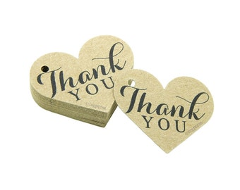 Thank You Love Heart Tags, Rustic Thank You Tags, Product Tags, Thank You Gift Labels, Cream, White, Ivory, Brown Kraft Tags, tagpress T023
