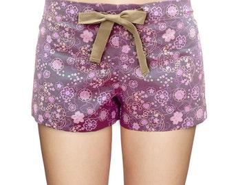 Purple Floral Beach Shorts