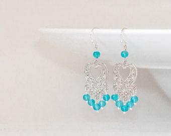 Blue stone earrings, Chandelier earings, Blue chandelier earrings, Blue quartz earrings,Sky blue earrings, Chandalier earrings