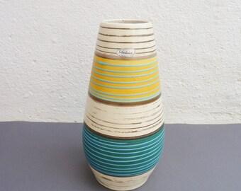 Scheurich pottery vase, west german pottery / 60s vintage flower vase / stripes