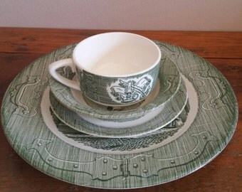 1950's Dinner set by The Old Curiosity Shop, Dinner, Family, Gathering, Holidays, Celebrations, Green, Ceramic, Plate, Dish, Cups, Socialize