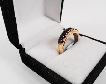 Sapphire Ring.  Seven Natural Sapphires in a 10kt Gold Band