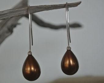 Bronze/Brown Seashell Pearl Earrings