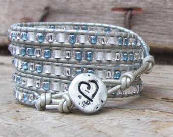 Leather Wrap Bracelet, Boho Wrap Bracelet, Wrap Bracelet, Beaded Wrap Bracelet, Bohemian Bracelet, Handmade Bracelet