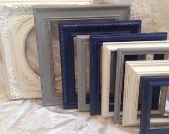 Shabby Chic Picture Frame Set Ornate Mix Navy Gray White Custom Vintage Frames Upcycled