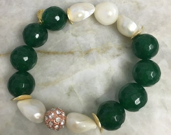 Green jade bracelet with large fresh water pearls, Swarovski crystal pave spacers beads and gold spacers