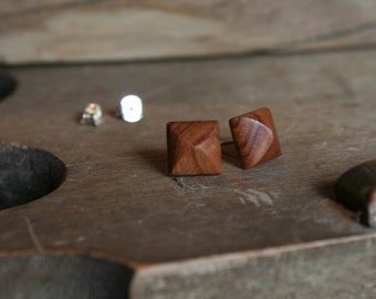 1 pair wood Earrings from wild olive wood square 9 x 9 mm plug/nut 925 Silver