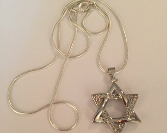 Silver Jewish Star Of David Pendant Necklace, Silver Magen David Necklace, Wavy Jewish Star Necklace, Judaic Necklace, Jewish Necklace