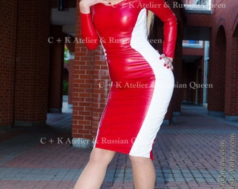 C + K leather dress, red-white or black-whithe, pencil silhouette, very shiny pleather, handmade, new