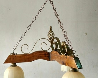 lamp rustic wrought iron and wood mod . balancer