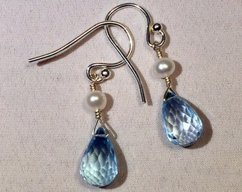 Blue Topaz and Freshwater Pearl Earrings on Sterling Silver Earwires