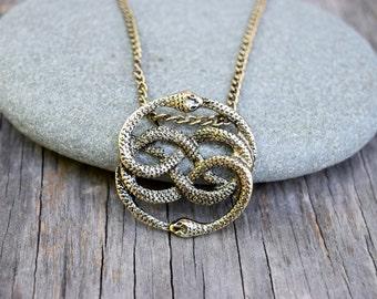 NeverEnding Story Antique Gold Necklace,  Auryn Necklace, Long or Choker, Never Ending Story Snake Pendant, Snake Circle, Men's Necklace