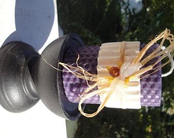 "Hand Rolled, Honeycomb Beeswax Pillar Candle, Grape (Purple) 3"""