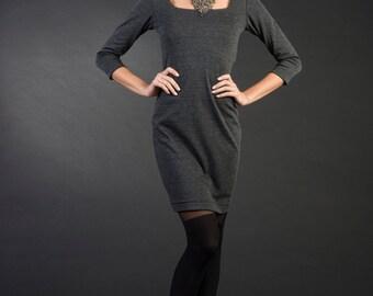 "Gray woman dress ""Gina"", plus size, casual gray dress, elegant woman dress, winter dress"