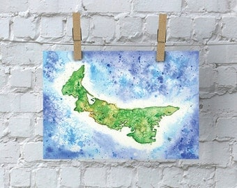 Prince Edward Island Watercolor Map - Giclée Print of Hand Painted Original Art