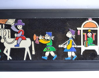 "Vintage Mid Century Painting on Wood  Asian Procession Parade with Princess, Musicians & Horseman, 7"" x 19"""
