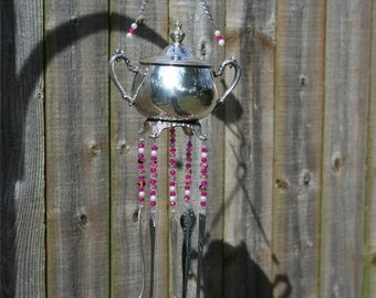 Silver teapot spoon wind chime silverware beaded windchime