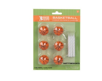 Basketball Candle Holders and Birthday Cake Candles (6).......Basketball  Games......Birthday Parties........