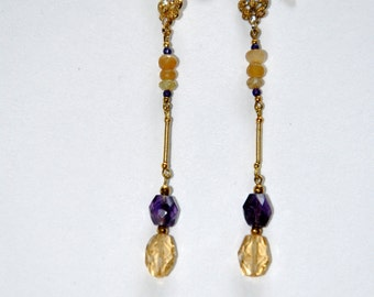 Gold plated vintage earrings, Amethysts and Citrines