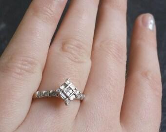 14k White Gold 0.25ctw Diamond Vintage Estate Square Engagement Ring Size 6.25