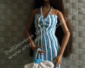 OOAK  Cocktail dress For Tonner 16 with hand bag and necklace