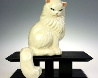 White Persian Cat Hand Painted Ceramic Shelf Sitter Figurine