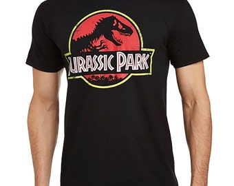 Jurassic Park Men's Classic Logo Crew Neck Short Sleeve T-Shirt, Black, Distressed Vintage Ptyle Printed Tee