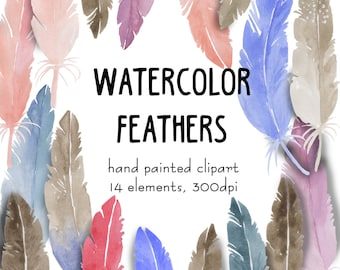 Watercolor Feathers Clipart set hand painted watercolor feather elements for scrapbooking decorative feather clip art kit instant download