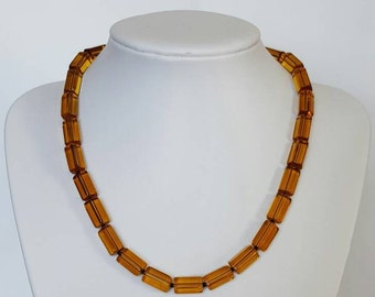 Retro style amber glass bead necklace. Funky yellow glass bead necklace. Made in Australia.